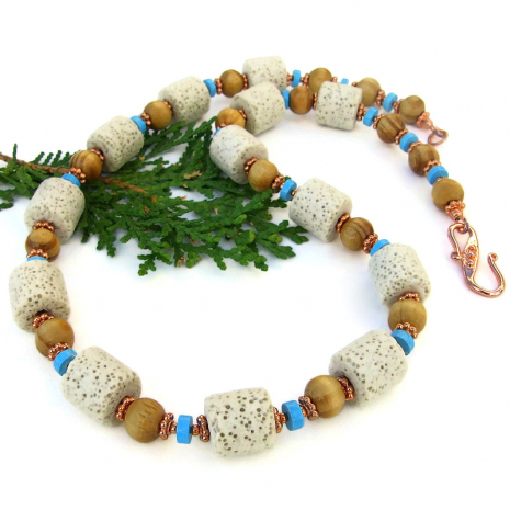 unique cream pumice lava rock wood bead turquoise magnesite handmade necklace