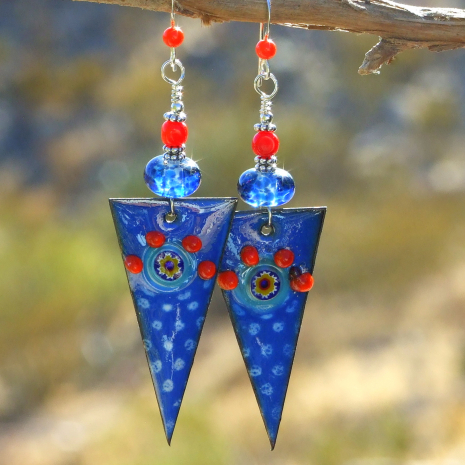 unique earrings for women blue spikes with red coral