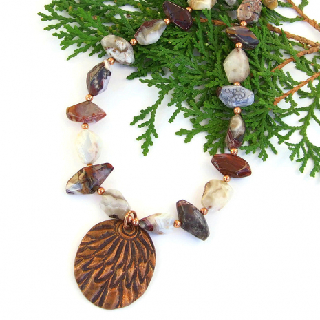 unique feather pendant and agate gemstone jewelry gift for women