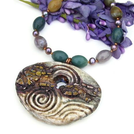 unique gold rush with spirals pendant necklace with fancy jasper gemstones