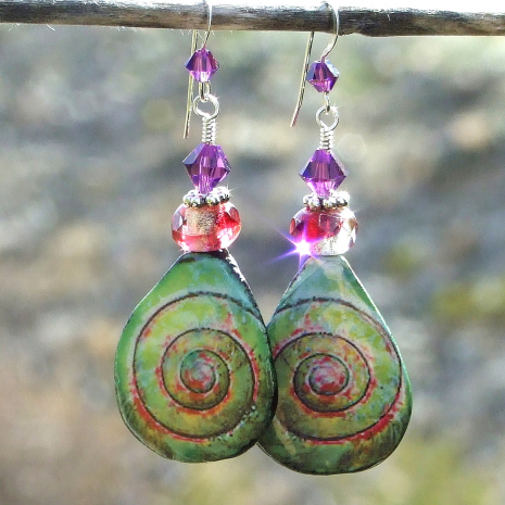 unique handmade ceramic spiral jewelry with crystals