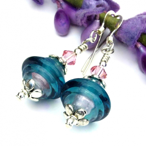 unique handmade lampwork glass earrings with crystals