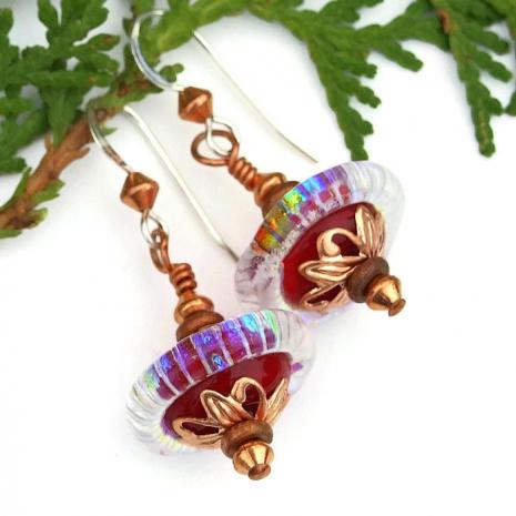 rainbow saturn glass earrings for women