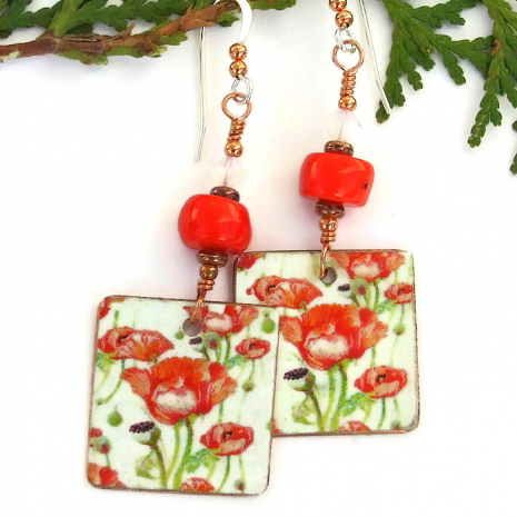 red poppies handmade jewelry Valentines gift