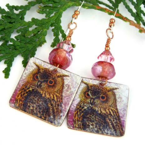 unique horned owl dangle jewelry