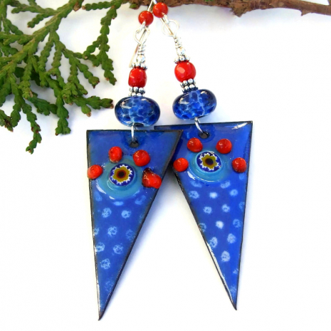 unique jewelry for women blue spikes with red coral