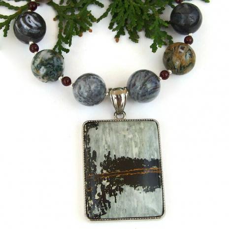 unique natures paintbrush jasper necklace silver crazy lace agate garnet