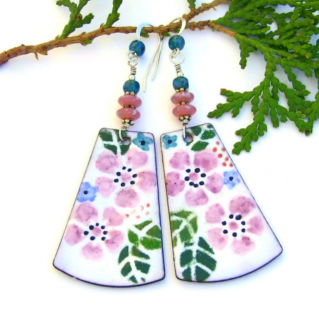 unique pink flower long dangle earrings