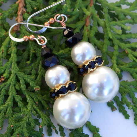 unique swarovski pearls snowmen snowman earrings