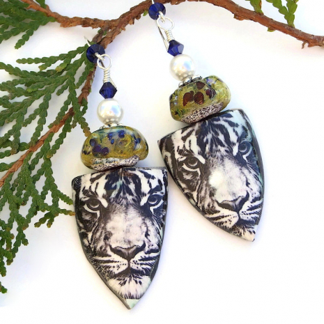 unique tiger shield earrings with lampwork, pearls and Swarovski crystals