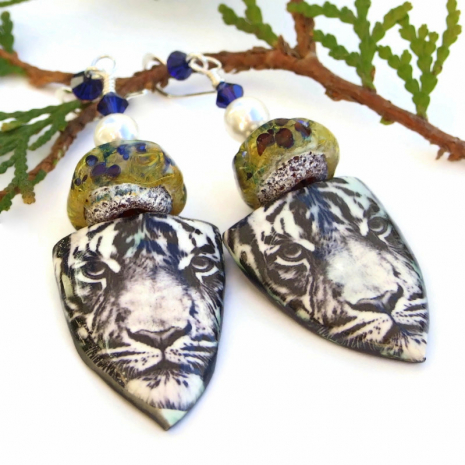 unique tiger shield jewelry with lampwork, pearls and Swarovski crystals