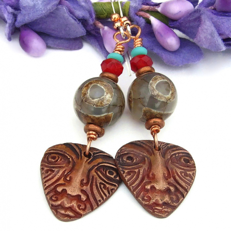 unique tribal face mask earrings with tibetan eye agate