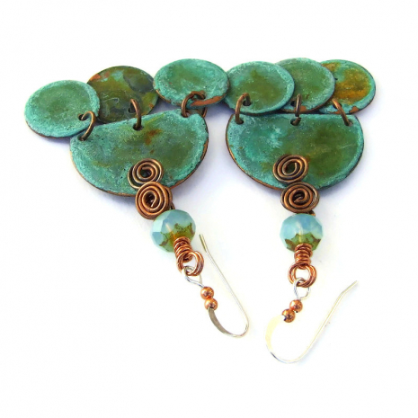 unique turquoise copper boho jewelry with spirals and Czech glass