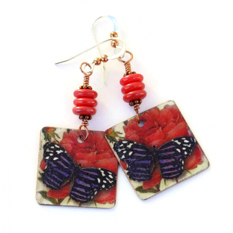 Valentines butterfly and flower earrings gift idea