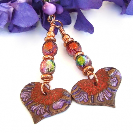 valentines day gift handmade heart flowers earrings