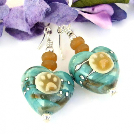 handmade lampwork heart and dog paw prints jewelry