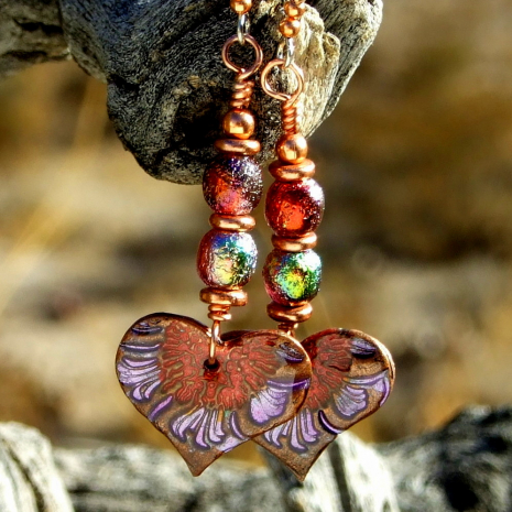 valentines day heart flowers earrings gift for women