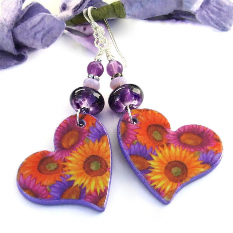 handmade valentines day earrings hearts and flowers