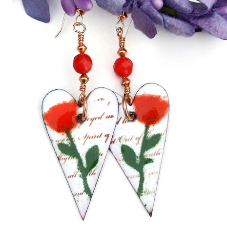 hearts and roses earrings valentines gift