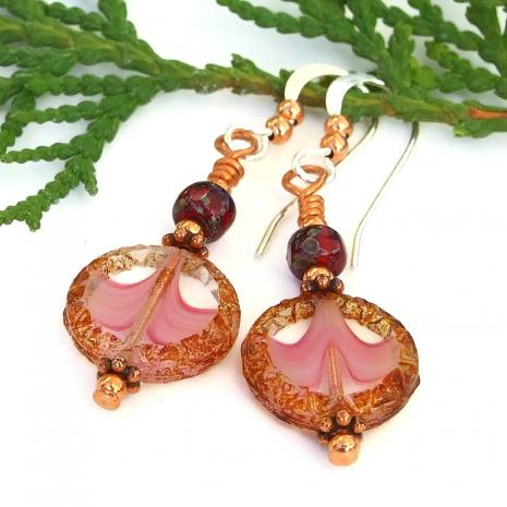 small czech glass pink earrings for women