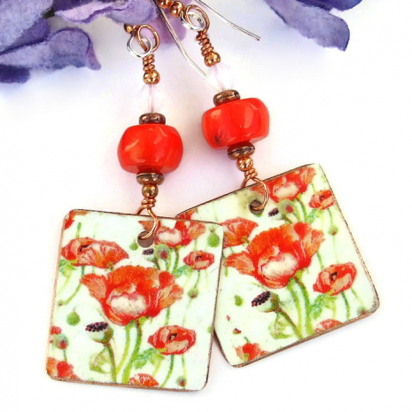 Mothers Day red poppies earrings gift idea