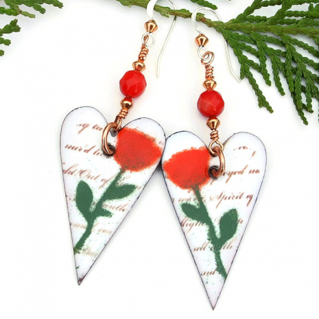 mothers day hearts and roses earrings