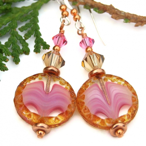 valentines gift unique pink jewelry