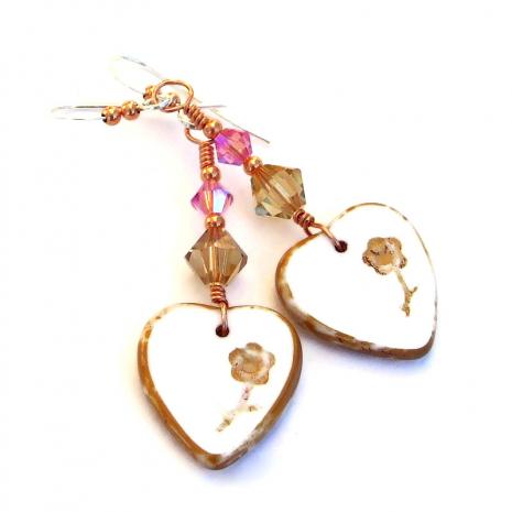 valentines heart earrings gift for her