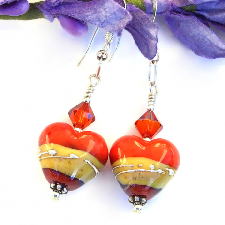 valentines heart earrings gift for women