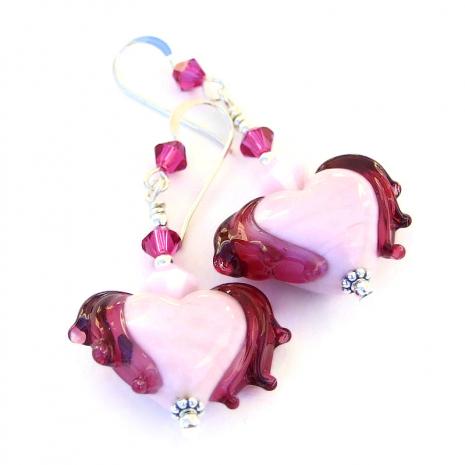 valentines heart earrings Swarovski crystals