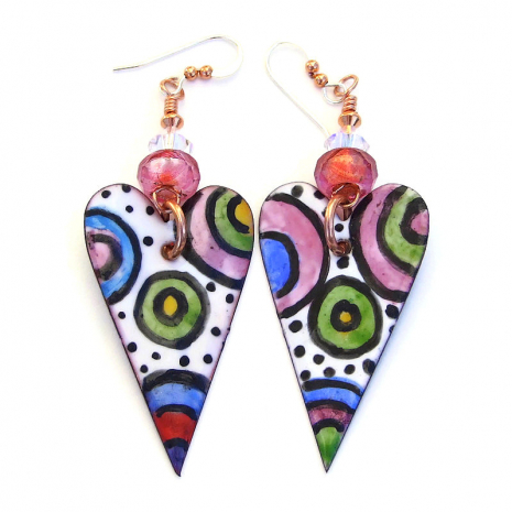 valentines hearts earrings gift for her
