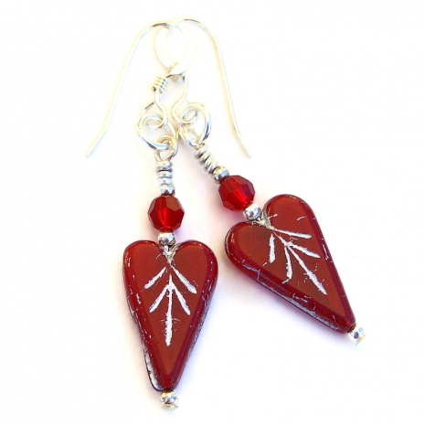 valentines hearts earrings with crystals gift for her