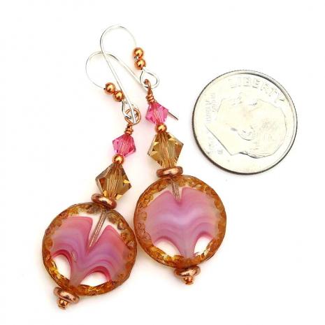 valentines pink brown jewelry swarovski crystals