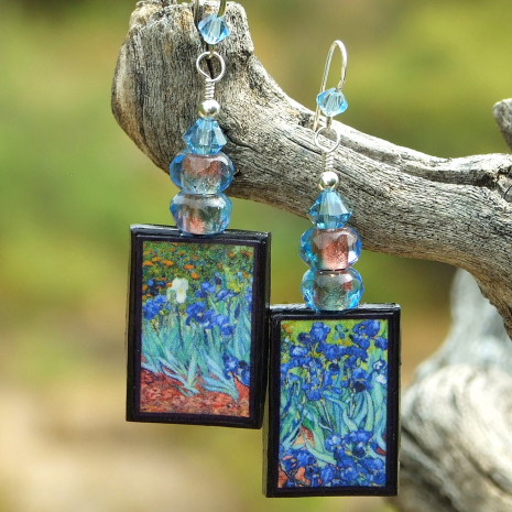 van gogh irises art earrings gift for women