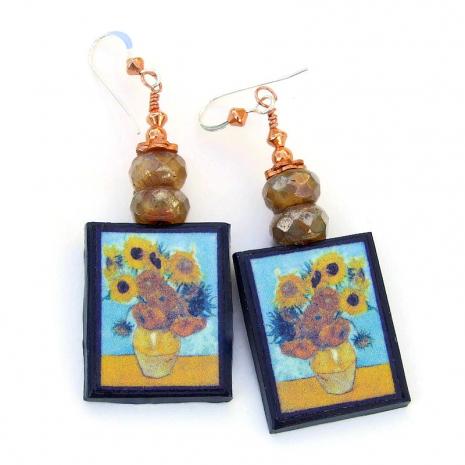 van gogh sunflowers art jewelry gift for women