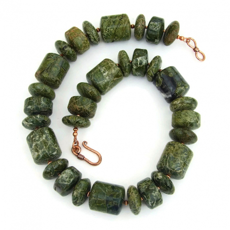 chunky green serpentine gemstone necklace