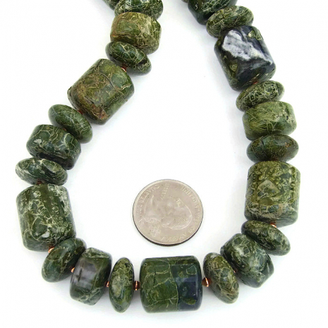 Artisan handmade chunky green serpentine and copper statement necklace.