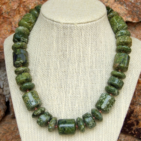 Chunky green serpentine gemstone necklace with copper.