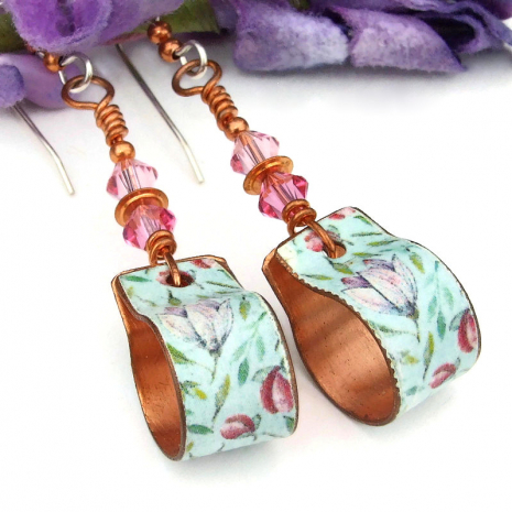 victorian inspired flower floral earrings with pink crystals
