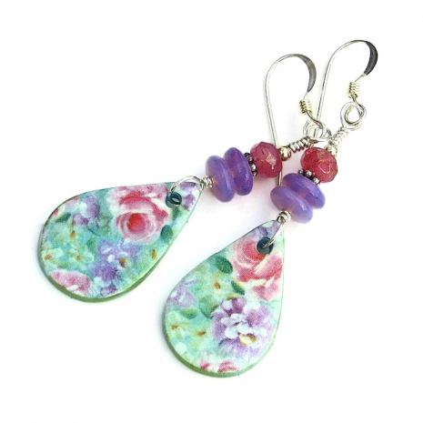 mint green violet and pink flower jewelry for women