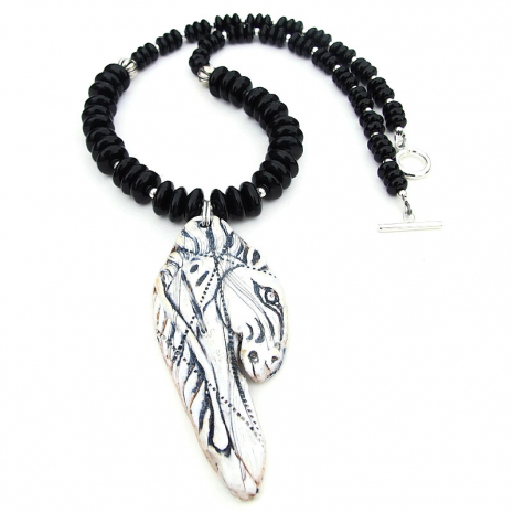 viking horse pendant necklace black onyx sterling silver