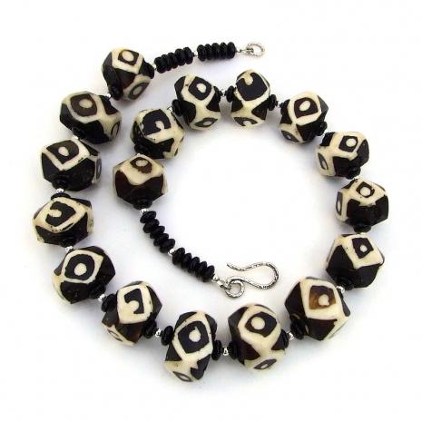 vintage african batik bone bead jewelry