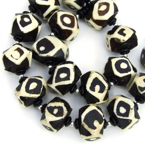 vintage african batik bone bead jewelry with black onyx gift for women