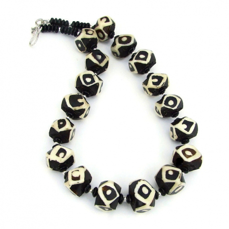 vintage african batik bone bead necklace
