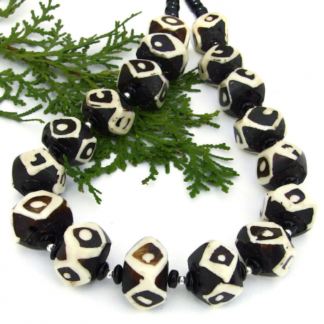 vintage african batik bone bead necklace with black onyx gift for women