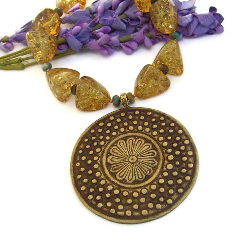 vintage brass african flower jewelry with amber and turquoise