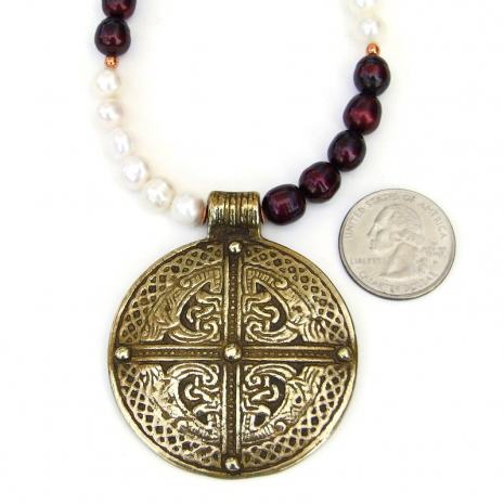 vintage brass celtic inspired cross pendant jewelry