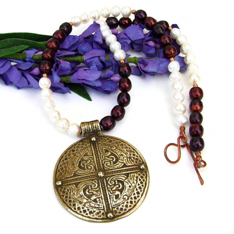 vintage brass celtic inspired cross pendant  jewelry with pearls