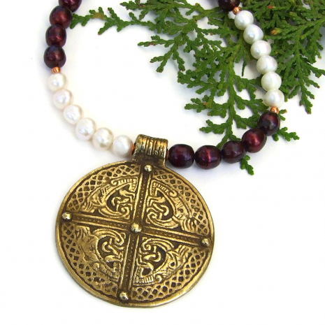 vintage brass celtic inspired cross pendant necklace