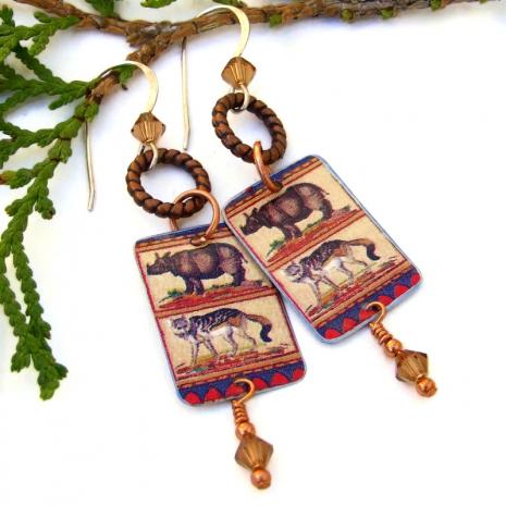 vintage exotic animal tin earrings rhino jackal